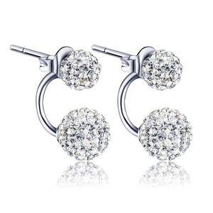 Silver Double Beaded Rhinestone Crystal Earrings